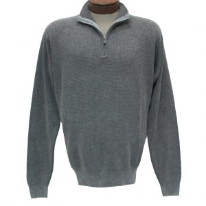 Men's F/X Fusion Long Sleeve 100% Cotton Baby Thermal Sandwashed 1/4 Zip Mock Neck Sweater #806 Grey (SOLD OUT!)