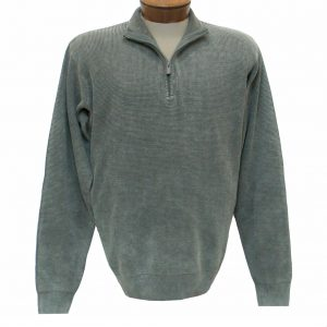 Men's F/X Fusion Long Sleeve 100% Cotton Baby Thermal Sand Washed 1/4 Zip Mock Neck Sweater #806 Sage