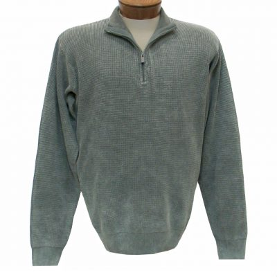 Men's F/X Fusion Long Sleeve 100% Cotton Baby Thermal Sandwashed 1/4 Zip Mock Neck Sweater #806 Sage