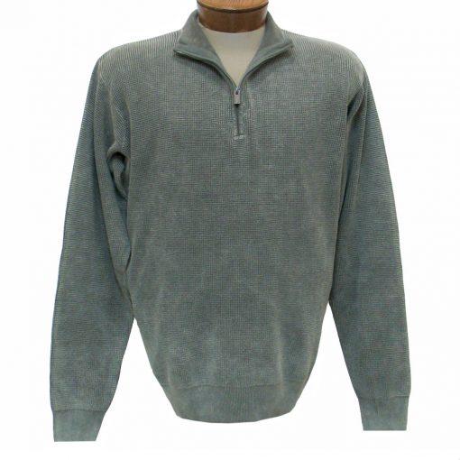 Men's F/X Fusion Long Sleeve 100% Cotton Baby Thermal Sandwashed 1/4 Zip Mock Neck Sweater #806 Sage