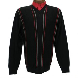 Men's V-Neck Sweater By F/X Fusion, Vertical Intarsia Long Sleeve #1034 Black (SOLD OUT!)