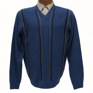 Men's V-Neck Sweater By F/X Fusion, Vertical Intarsia Long Sleeve #1034 Cobalt Blue Heather (SOLD OUT!)