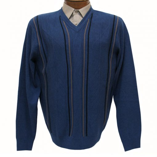 Men's V-Neck Sweater By F/X Fusion, Vertical Intarsia Long Sleeve #1034 Cobalt Blue Heather
