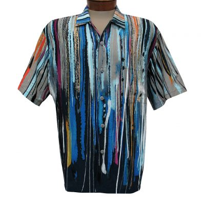 Men's Jams World Short Sleeve Original Crushed Rayon Retro Aloha Shirt, Trailblazer