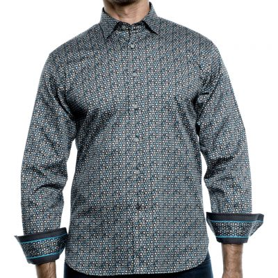 Men's Luchiano Visconti Sport Edition Long Sleeve Sport Shirt, Multi Dots #41112 Aqua