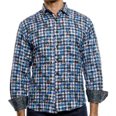 Men's Luchiano Visconti Sport Edition Long Sleeve Woven Abstract Check Sport Shirt, #4184 Blue