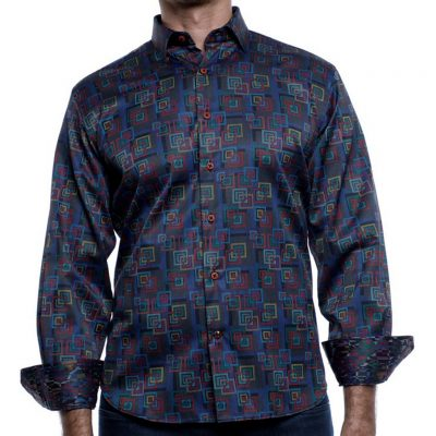 Men's Luchiano Visconti Sport Edition Long Sleeve Sport Shirt, Blue Multi Squares #4186