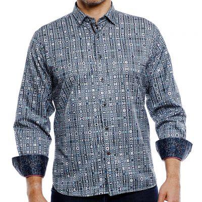 Men's Luchiano Visconti Sport Edition Long Sleeve Sport Shirt, #41111 Grey Teal Multi