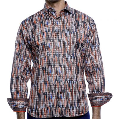 Men's Luchiano Visconti Sport Edition Long Sleeve Sport Shirt, #4180 Rust Multi Abstract