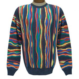 Men's Montechiaro Made in Italy Long Sleeve Mercerized Cotton Blend Textured Crew Neck Sweater #19120410 Multi *Special Purchase