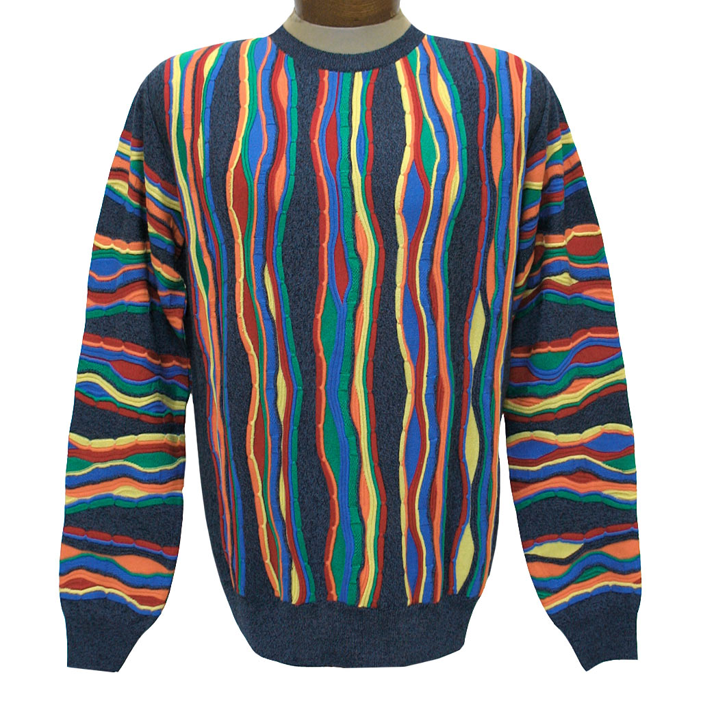 Men's Montechiaro Made in Italy Long Sleeve Mercerized Cotton Blend Textured Crew Neck Sweater #19120410 Multi (SOLD OUT!)