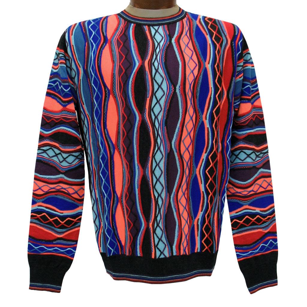 Men's Montechiaro Made in Italy Long Sleeve Merino Wool Blend Textured Crew Neck Sweater #20120510 Bright