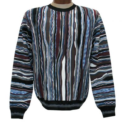 Men's Montechiaro Made in Italy Long Sleeve Merino Wool Blend Textured Crew Neck Sweater #20120610 Multi