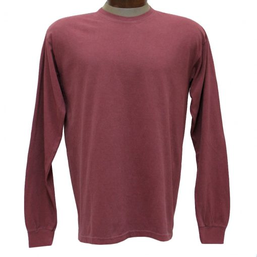 Men's R. Options by Basic Options Long Sleeve Pigment Dyed Tee, Brick