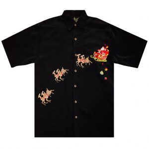 Men's Bamboo Cay Short Sleeve Embroidered Limited Addition Christmas Shirt, December 24TH-December 25TH #SN1902, Black (XL, ONLY!)
