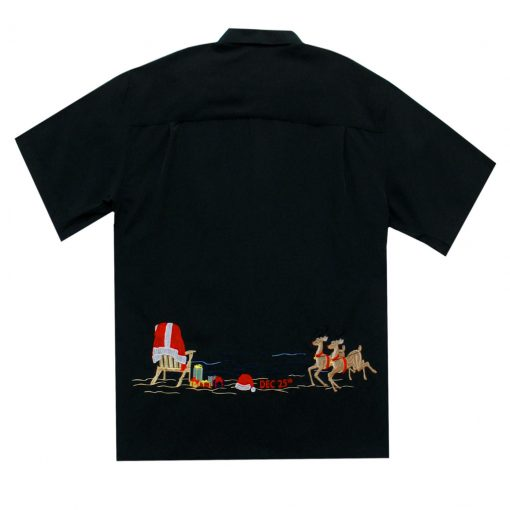 Men's Bamboo Cay Short Sleeve Embroidered Limited Addition Christmas Shirt, December 24TH-December 25TH #SN1902, Black