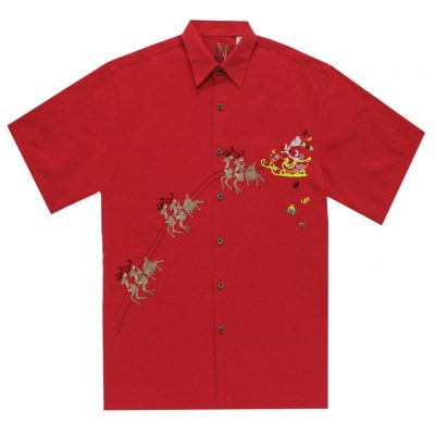 Men's Bamboo Cay Short Sleeve Embroidered Limited Addition Christmas Shirt, December 24TH-December 25TH #SN1902, Red