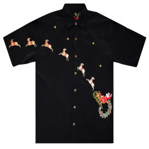 Men's Bamboo Cay Short Sleeve Embroidered Limited Addition Christmas Shirt, Flying Santa #SN1905, Black (XL & XXL, ONLY!)