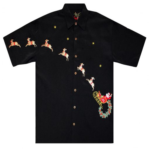 Men's Bamboo Cay Short Sleeve Embroidered Limited Addition Christmas Shirt, Flying Santa #SN1905, Black