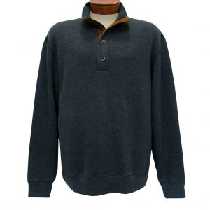 Men's Basic Options 1/4 Zip/Button Mock Neck Sweater Knit With Foux Suede Accents  #81439-1, Charcoal (L, ONLY!)