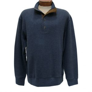Men's Basic Options 1/4 Zip/Button Mock Neck Sweater Knit With Foux Suede Accents  #81439-3, Navy