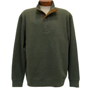 Men's Basic Options 1/4 Zip/Button Mock Neck Sweater Knit With Foux Suede Accents  #81439-4, Olive (M, ONLY!)