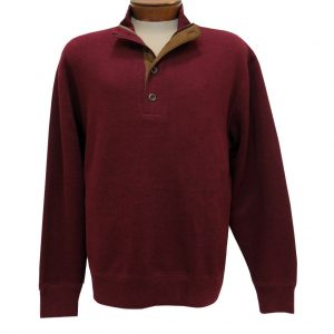Men's Basic Options 1/4 Zip/Button Mock Neck Sweater Knit With Foux Suede Accents  #81439-97, Merlot