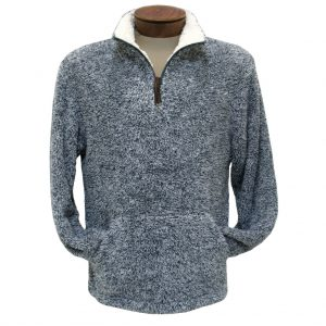 Men's Basic Options Long Sleeve Canyon Fur Two Sided Plush Fleece Mock Neck Pullover #81817-3 Blue Heather