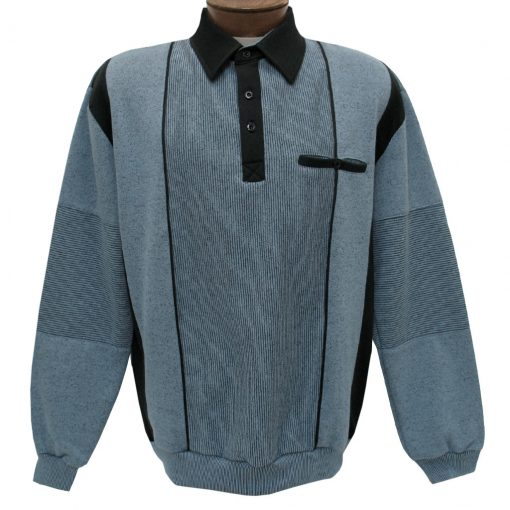 Men's Classics - LD Sport By Palmland Long Sleeve Tailored Collar Vertical Fleece Lined Banded Bottom Shirt #6094-165B Blue