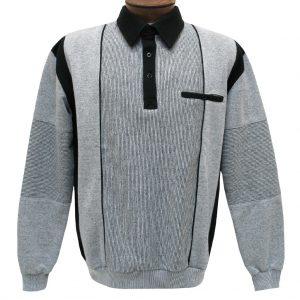 Men's Classics – LD Sport By Palmland Long Sleeve Tailored Collar Vertical Fleece Lined Banded Bottom Shirt #6094-165B Grey