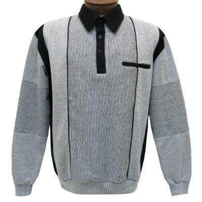 Men's Classics - LD Sport By Palmland Long Sleeve Tailored Collar Vertical Fleece Lined Banded Bottom Shirt #6094-165B Grey