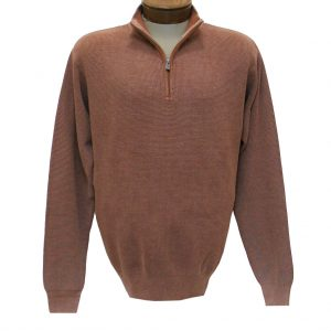 Men's F/X Fusion Long Sleeve 100% Cotton Baby Thermal Sandwashed 1/4 Zip Mock Neck Sweater #806 Acorn