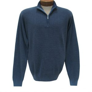 Men's F/X Fusion Long Sleeve 100% Cotton Baby Thermal Sandwashed 1/4 Zip Mock Neck Sweater #806 Blue