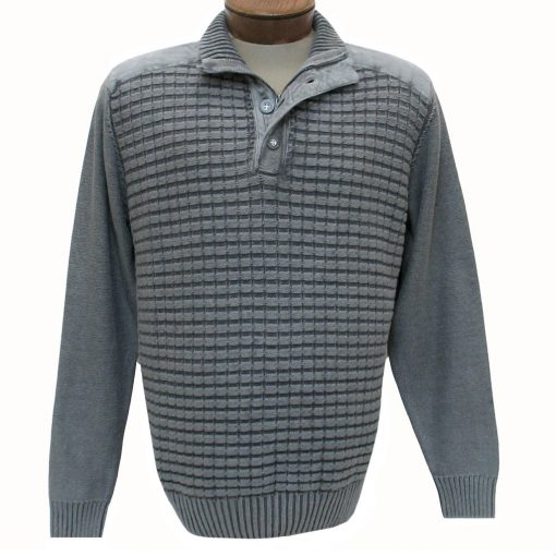 Men's F/X Fusion Sweater 100% Cotton Sandwashed 1/4 Zip And Button Mock Neck Sweater #1031 Grey