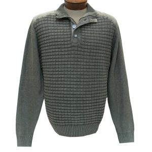 Men's F/X Fusion Sweater 100% Cotton Sandwashed 1/4 Zip And Button Mock Neck Sweater #1031 Sage
