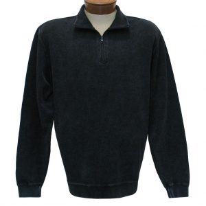 Men's F/X Fusion Sweater, 100% Cotton Reverse Rib Terry Sandwashed 1/4 Zip Mock Neck #1064 Black (XL, ONLY!)