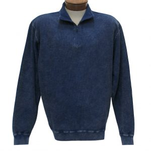 Men's F/X Fusion Sweater, 100% Cotton Reverse Rib Terry Sandwashed 1/4 Zip Mock Neck #1064 Indigo (XL, ONLY!)