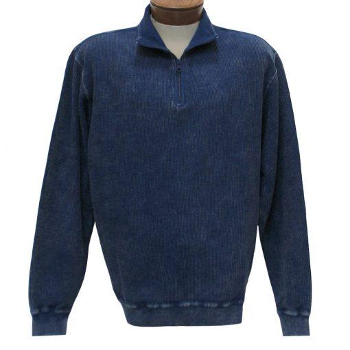 Men's F/X Fusion Sweater, 100% Cotton Reverse Rib Terry Sandwashed 1/4 Zip Mock Neck #1064 Indigo