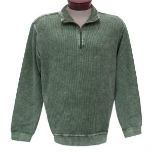 Men's F/X Fusion Sweater, 100% Cotton Reverse Rib Terry Sandwashed 1/4 Zip Mock Neck #1064 Olive (XL & XXL, ONLY!)