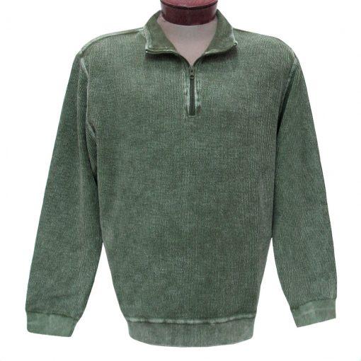 Men's F/X Fusion Sweater, 100% Cotton Reverse Rib Terry Sandwashed 1/4 Zip Mock Neck #1064 Olive