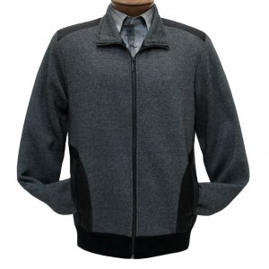 Men's F/X Fusion Full Zip Knit Jacket, Fleece Lined With Nylon Trim #1067 Charcoal (M & XL, ONLY!)
