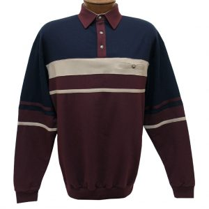 Men's LD Sport By Palmland Long Sleeve Tailored Collar Horizontal Pieced Banded Bottom Shirt #6094-739 Burgundy (M, ONLY!)