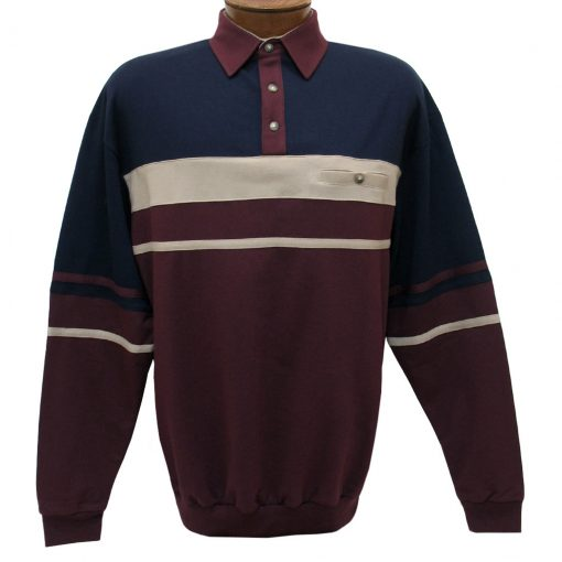 Men's LD Sport By Palmland Long Sleeve Tailored Collar Horizontal Pieced Banded Bottom Shirt #6094-739 Burgundy