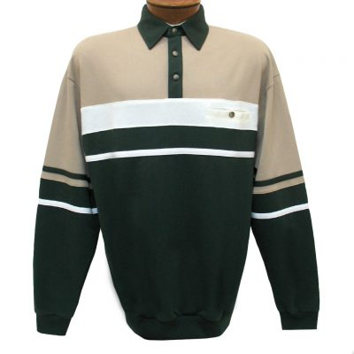 Men's LD Sport By Palmland Long Sleeve Tailored Collar Horizontal Pieced Banded Bottom Shirt #6094-739 Green