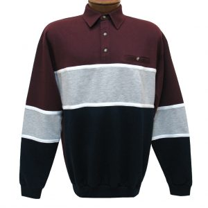 Men's LD Sport By Palmland Long Sleeve Tailored Collar Horizontal Pieced Banded Bottom Shirt #6094-728 Burgundy (M & XXL, ONLY!)