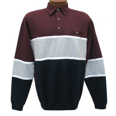 Men's Classics - LD Sport By Palmland Long Sleeve Tailored Collar Horizontal Pieced Banded Bottom Shirt #6094-728 Burgundy