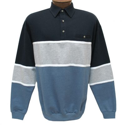 Men's Classics - LD Sport By Palmland Long Sleeve Tailored Collar Horizontal Pieced Banded Bottom Shirt #6094-728 Navy