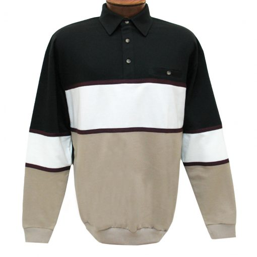 Men's Classics - LD Sport By Palmland Long Sleeve Tailored Collar Horizontal Pieced Banded Bottom Shirt #6094-728 Taupe