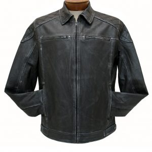Men's Scully Premium Washed Lambskin Leather Jacket #727-196, Black