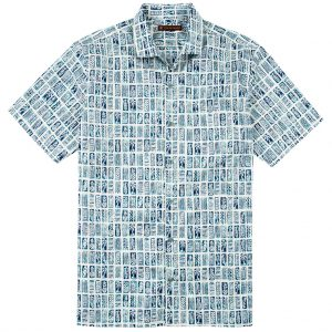 Men's Tori Richard Brown Label Cotton Lawn Relaxed Fit Short Sleeve Shirt, Block Tiles #MG09 Natural (L, ONLY!)